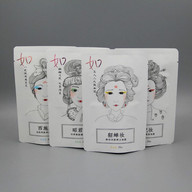 四大美女烫金牛皮纸铝箔面膜袋